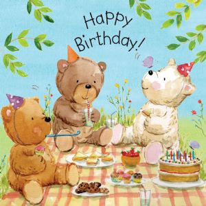 TOT8  Childrens Birthday Card Teddy Bears Picnic